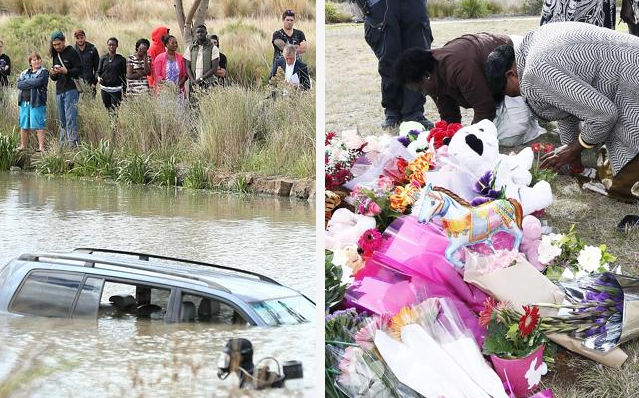 On the left, a crowd watches a police diver at the scene earlier on Thursday, on the right, Flowers and toys brought to the scenes as tributes to the three little angels. (Photos: Mark Stewart(L) and Paul Loughnan(R))