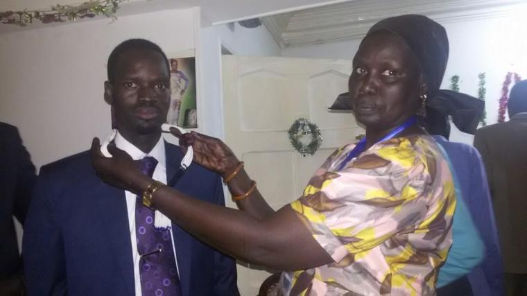 Michael Wal Chimed the new chairperson of Lou Nuer Community in Egypt and Elizabeth Nyatot Chol (Photo Sirir Gabriel)