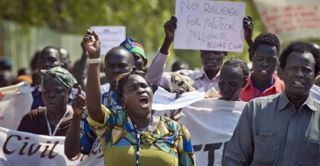 A government allied civil society demonstrating against the release of political detainees who were eventually released by April 2014. However, the Chairman of the government-backed civil society, Deng Athuai, shown leading in the photography narrowly escaped assassinate a few months later in Juba, South Sudan(Photo: file)