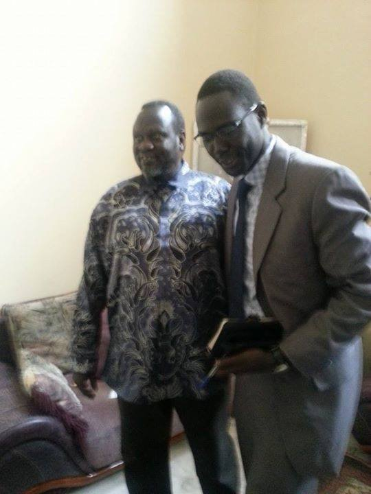 Cde. Nyan Gatdet with Dr Riek Machar in his office Adis Ababa.