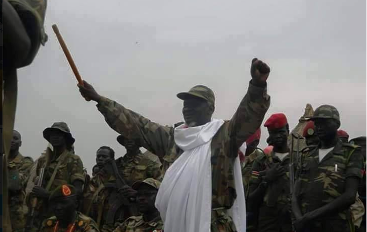 Maj. Gen. Simon Gatwech Dual, the Chief of Staff of SPLA [IO], celebrating a victory in Duk county, 2014(Photo: file)