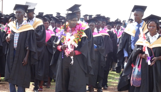 Graduands leave the graduation ground after the ceremony today, April 28, 2015. (Photo: Joakino Francis)