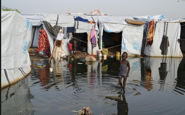 Thousands of IDPs confined to  flooded UN facilitated camps at Tongping in the country's capital, Juba, 2014(Photo: supplied)