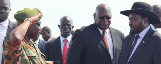 Kiir shaking hands with SPLA-Chief of staff-