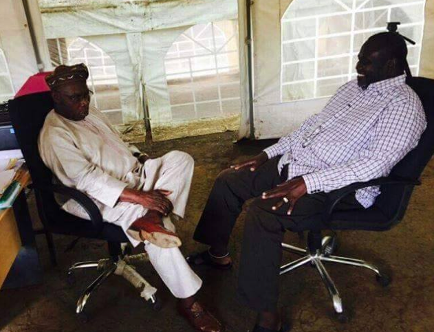 A close doors discussion between South Sudan's former Vice President, Dr. Riek Machar and the former Nigerian President, Gen. Obasanjo in Pagak, Upper Nile South Sudan(Photo: IO/Machar's Profiles)
