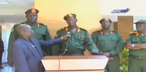 Olony speaks on SSTV with Gen. Bapiny Monyutuil when they return to Salvsa Kiir governent in 2013 before the conflict start in December, 2013(Photo: file)