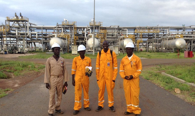 South Sudanese oil field workers in gears and uniform at Paloch oil fields(Photo: File/Nyamilepedia)