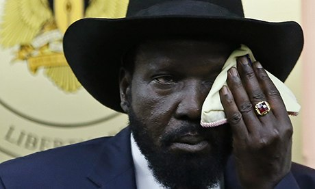 South Sudan's President Salva Kiir at a news conference in Juba. Kiir's $1 billion investment in military to crash rebellion failed Kiir bought 1000 tractors hoping to restore the collapsing economy but experts say it is just too late(Photograph: Goran Tomasevic/Reuters)