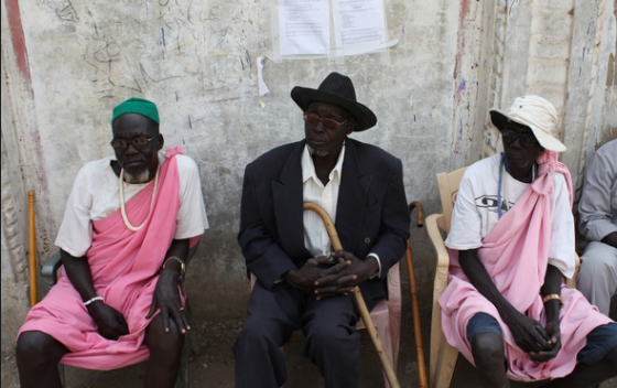 three men, from the shilluk tribe, sit in the shade outside of the MSF compound in malakal, south sudan.(Photo: chasehannon)