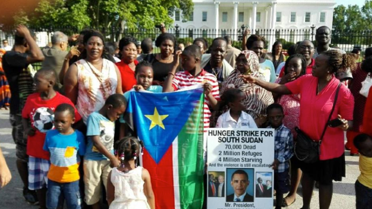 Simon Deng on the strike at the White House for Obama Administration to response to South Sudan conflict(Photo: file)