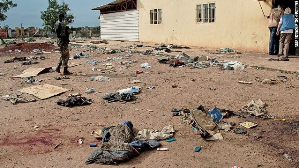 """This handout picture taken on April 15, 2014 and released on April 23 by the the United Nations Mission in South Sudan (UNMISS) shows debris outside the Kali-Ballee Mosque in the oil town of Bentiu, Unity State, on April 15, 2014. """"More than 200 civilians were reportedly killed and over 400 wounded,"""" the UN mission in the country said, adding there were also massacres at a church, hospital and an abandoned UN World Food Programme (WFP) compound. South Sudan's army has been fighting rebels loyal to sacked vice president Riek Machar, who launched a renewed offensive this month targeting key oil fields.  AFP PHOTO / HO / UNMISS RESTRICTED TO EDITORIAL USE - MANDATORY CREDIT """"AFP PHOTO / HO / UNMISS """" - NO MARKETING NO ADVERTISING CAMPAIGNS - DISTRIBUTED AS A SERVICE TO CLIENTS-/AFP/Getty Images"""