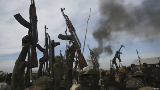 SPLA soldiers celebrating the captured of Malakal 2014