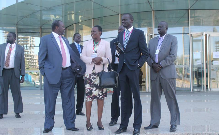SPLM/SPLA Chairman, Dr. Riek Machar Teny with part of his delegation in Addis Ababa early this year(Photo: file)