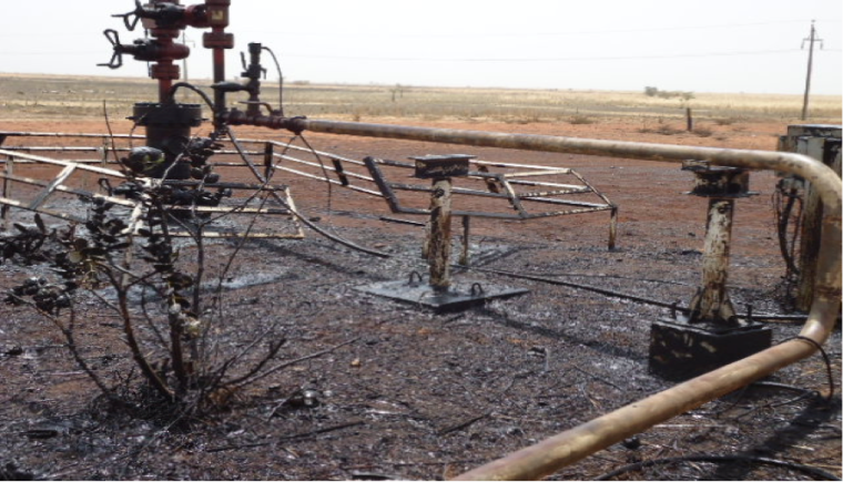 Destroyed oil well in Unity State (Photo: Luk Riek Nyak)