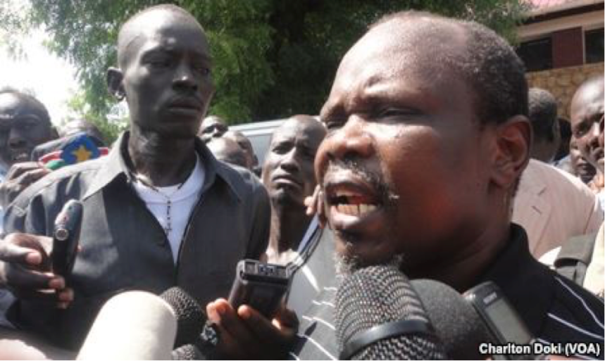 South Sudan's National Liberation Council has voted to reinstate Pagan Amum. The ruling party's ex-secretary general is shown (above) outside a court where he appeared earlier on treason charges.(Photo: supplied)