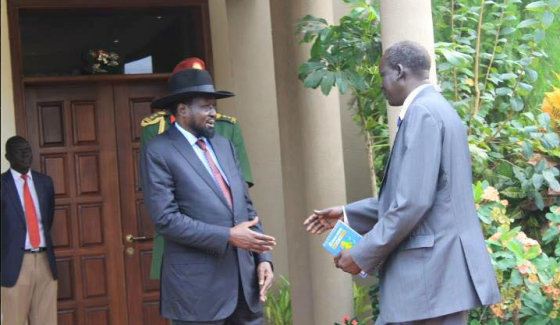 President Salva Kiir receiving his former detainee, Deng Alor, who has lived in exile in Kenya for more than one year(Photo: file)