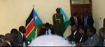 Incumbent President Salva Kiir, whose term expires in one month, meet five of the former detainees in Juba, South Sudan(Photo: file)