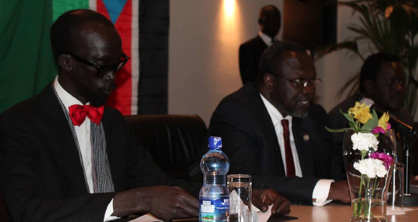 Capt. Mabior Garang de Mabior, the Chairman of National Committee for Information and Public Relations with Dr. Machar and Amb. Ezekiel Lul Gatkuoth(Photo: file)
