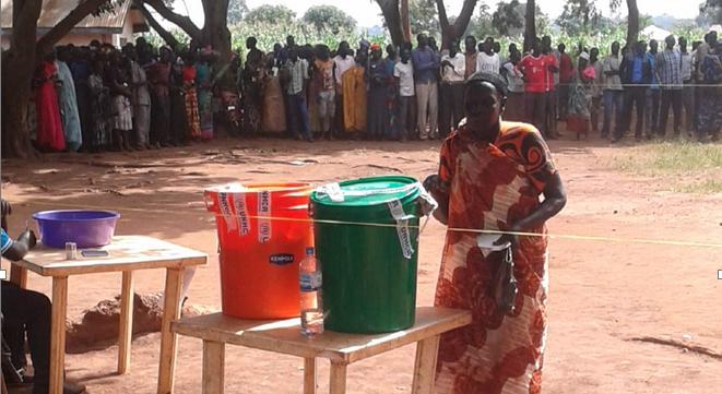 A refugee casting a ballot paper in Kiryandongo Refugee Settlement Reception Uganda (Photo: Gatwal Augustines/Nyamilepedia)