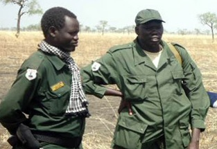 David Yau Yau with his forces standing in a bushes of Pibor/Nyamilepedia