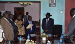 The swearing in ceremony of Pagan Amum after his reinstatement inot his former position of SPLM SG...