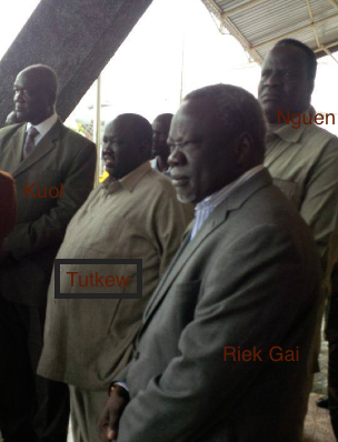 Former members of Sudan's ruling party, NCP, who are currently holding top positions in Salva Kiir's government, Dr. Riek Gai (MD), Dr. Nguen Monytuel(MD), Tutkew Gatluak who advises president Salva Kiir standing with Kuol Manyang welcoming a militia general who is returning to Salva Kiir's regime(Photo: file)