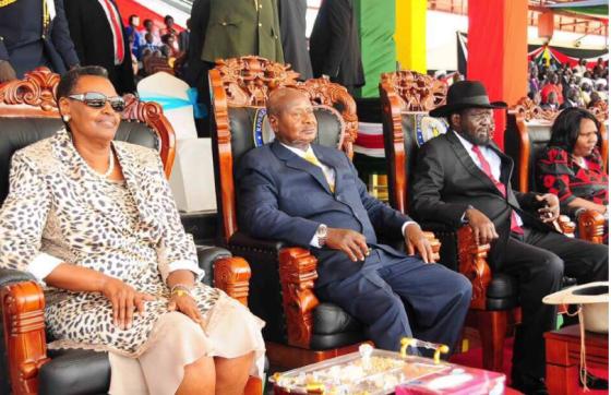 Ugandan president, Yoweri Museveni, and Salva Kiir of South Sudan at the 4th independent anniversary in Juba(Photo: file)