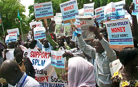 Members of the South Sudan Civil Society Alliance demonstrate at the National Assembly in Juba, June 11 ...