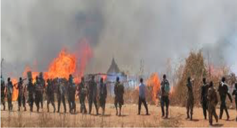 A village razed down in Unity State by the rival forces of SPLA (Photo: supplied)