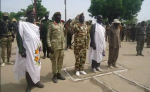 Lou Nuer Leaders; Governor Koang Gatkuoth, Brig. Gen. James Utong, Thomas Mabor Dhol and other cadres in Waat Town, Bieh State.(Photo: Nyamilepedia)