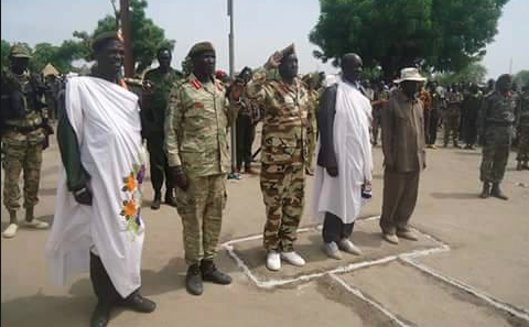 Lou Nuer Leaders; Governor Koang Gatkuoth, Brig. Gen. James Utong, Thomas Mabor Dhol and other cadres in Waat Town, Bieh State.(Photo: Nyamilepedia) Leaders of Lou Nuer: Governor Koang Gatkuoth, Brig. Gen. James Utong, Thomas Mabor Dhol and other cadres in Waat Town, Bieh State.(Photo: Nyamilepedia)