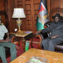 Lt. Gen. Thomas Cirilo Swaka meets President Salva Kiir in J1 after returning from Germany, following speculations that he was defecting from Salva Kiir government(Photo: file)
