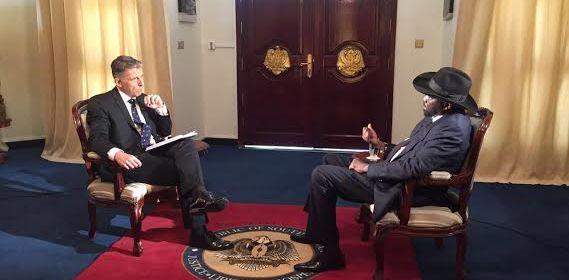 South Sudan's president, Salva Kiir, being interviewed by Al jazeera in Juba(Photo credits: al jazeera)