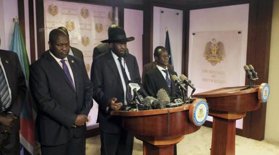 South Sudan leaders, President Salva Kiir, First Vice President, Riek Machar, and James Wani Igga at a press briefing at J1 this evening(Photo: Nyamilepedia)
