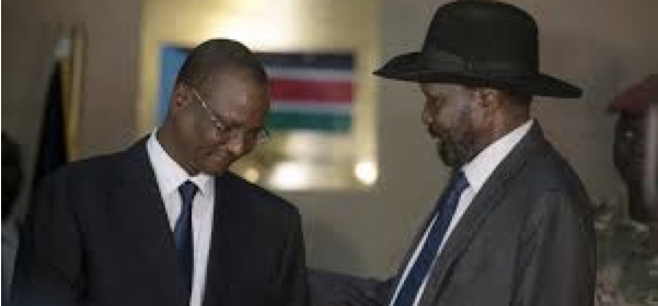 Gen. Taban Deng Gai being showered by President Salva Kiir after conspiring against Dr. Riek Machar Teny, the First Vice President(Photo: file)