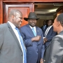 President Salva Kiir Mayardit and Dr. Riek Machar posed for a group picture during F2F Meeting in Juba.