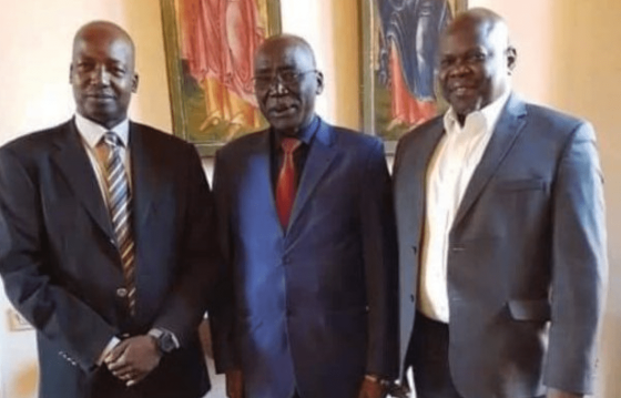 SSOMA officials, Gen. Thomas Cirilo, Gen. Paul Malong Awan and Cde. Pagan Amum Okiech posting for a picture before their current crises began(Photo credit: supplied/Nyamilepedia)
